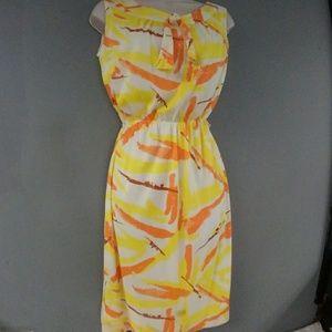 Vintage 60s Sacony Ciella Orange Yellow Dress